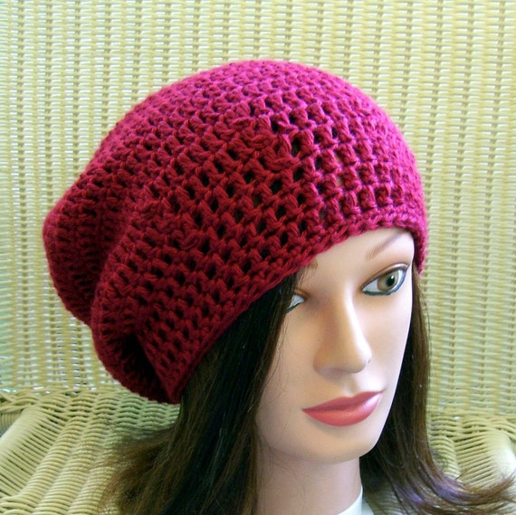 Crocheted Slouchy Beanie Dread Tam Red