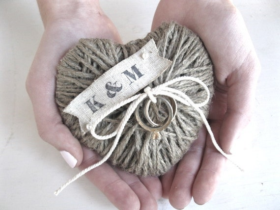 HEARTSTRINGS - wedding ring holder - OOAK - jute twine rustic wedding ring holder and ornament