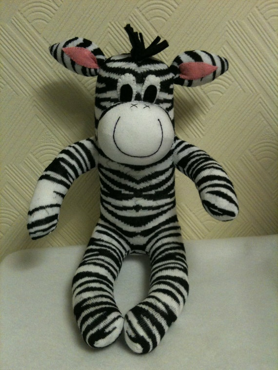 Sock Zebra, Sock Animal, Plush, Sock Sculpture