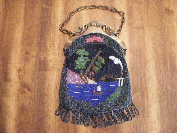 Exquisite Antique Beaded Purse with Lake Scene Design
