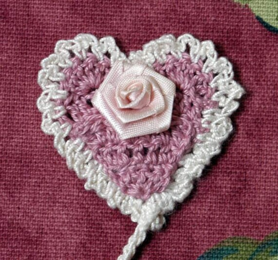 Valentine Rose Heart Crochet Bookmark, Sweet, Feminine, Ruffled, Book Marker, Women and Girls