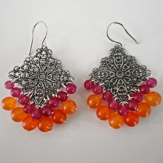 Pink Orange Chandelier Earrings