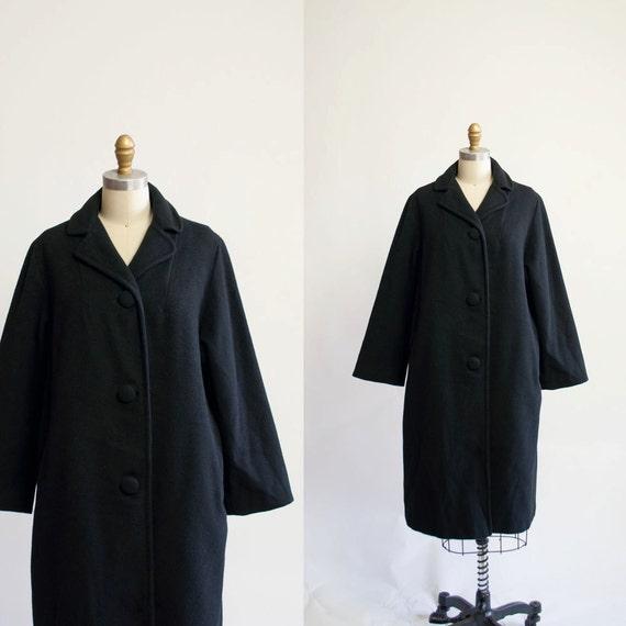Vintage 50s Cashmere Coat / Noir Coat / 1950s by MariesVintage