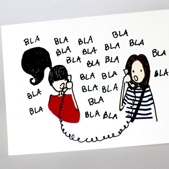 Best Friends Bla Blah - Funny Printed Greeting Card