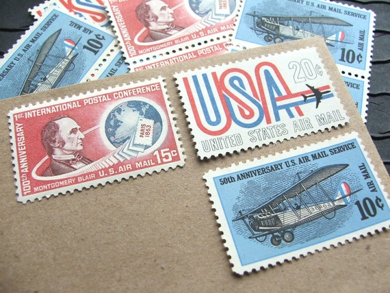 Par Avion .. Air Mail .. PREMIUM .. UNused Vintage Postage Stamps  .. post 5 letters
