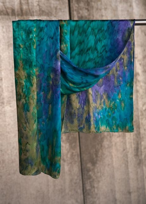 Hand Painted Waterfall Jacquard Silk Scarf