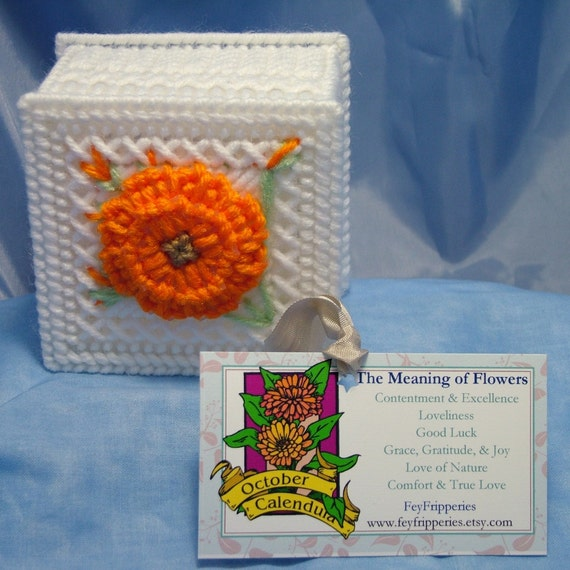 Calendula Flower Yarn and Plastic Canvas Gift Box