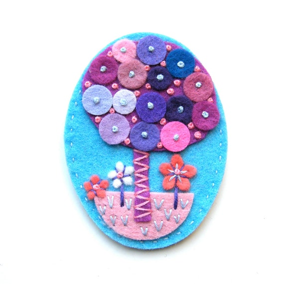 Unique TREE felt flower brooch with freeform hand embroidery