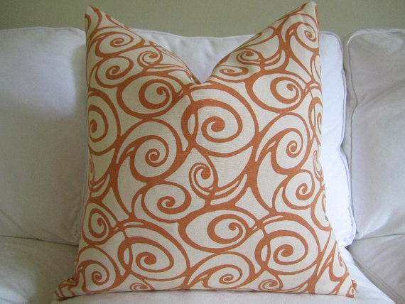Gold, Orange and Cinnamon reversible pillow cover zipper closure 20 x 20