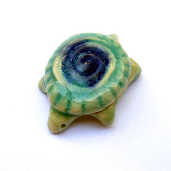 Porcelain Miniature Turtle With Spiral Shell Handmade
