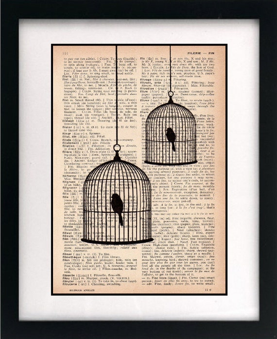 birdcage print - birdcage art print - vintage dictionary print - recycled book page - upcycled book page - 8x10 art print