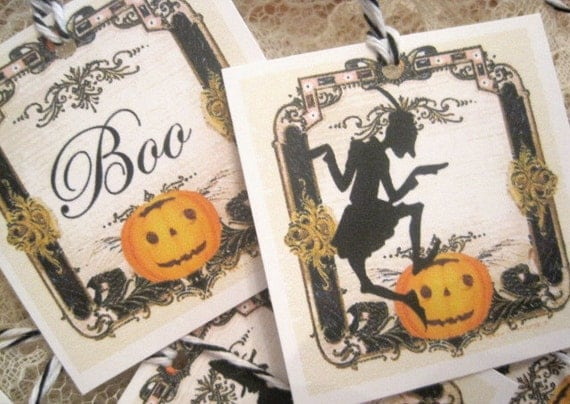 VINTAGE HALLOWEEN TAGS - Retro - Boo - Witches - Vampire - Bats - Cats - Pumpkins - Party Favor - Buy Three Get One Free