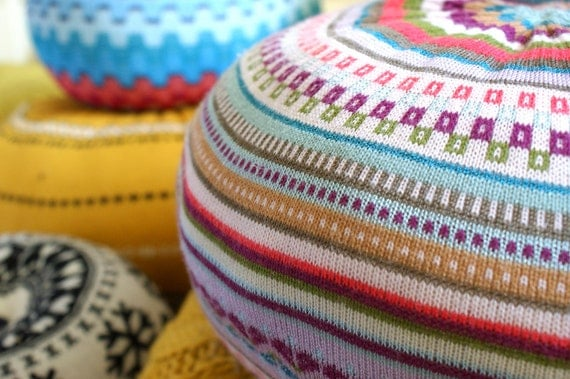 MEDIUM Upcycled Eco knit fairisle, cable floor cushion pouf hassock, spring summer brights turquoise cerise mustard jade teal red