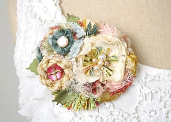 Bridal Wedding Gown Flower Corsage Pin Sash