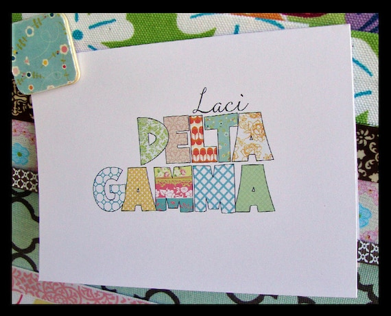 Delta Gamma (DG) Greek Sorority Personalized Note Cards