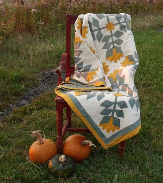 Antique Applique Golden Tulips Quilt