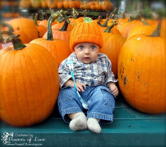 Pumpkin Hat Crocheted 3-6 months Made To Order