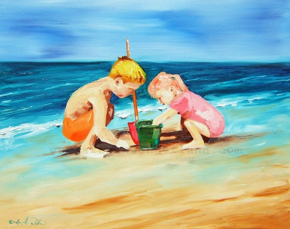 Weekend Chores Original Oil Impressionistic Kids On the beach Painting (impressionism) 11x14 Framed in Floater Ready to Hang Wall Art