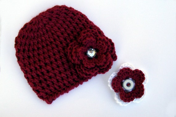 Crocheted Newborn Beanie Interchangeable Flowers Red