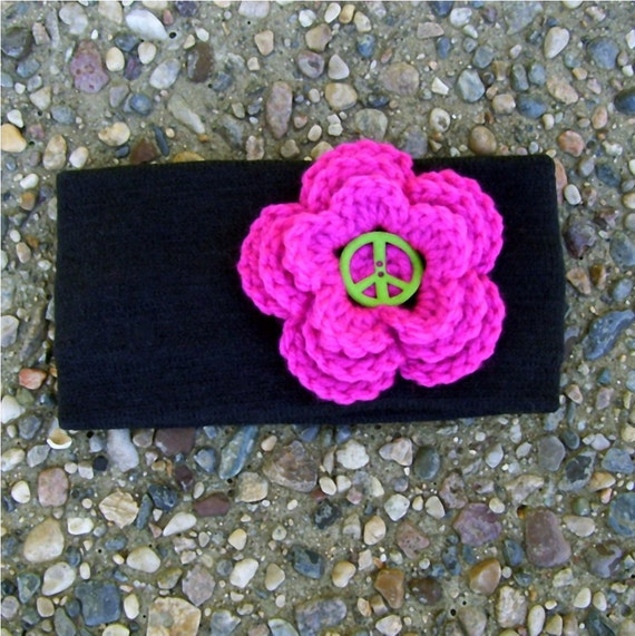 Winter Ear Warmer Black Headband Pink Flower Peace Sign