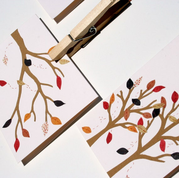 Autumn Leaves Notecards - Set of 4 Fall Note cards
