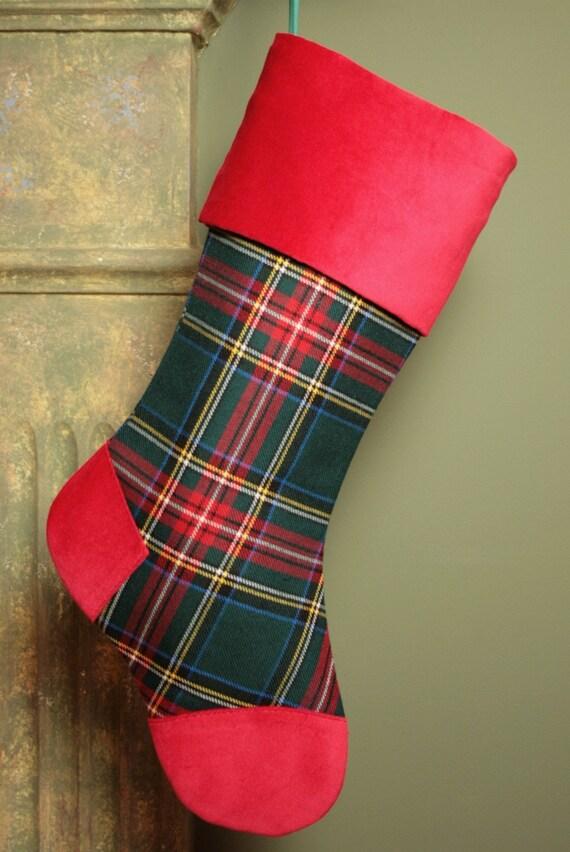 Аутентичные Зеленый Стюарт шотландский тартан Шерсть Простые украшения с красными акцентами Бархатная