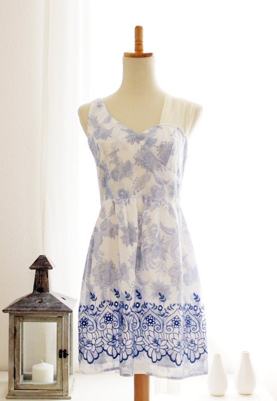 LE PETIT JARDIN - Asymmetrical Neckline Dress with Blue Floral Print, Embroidery and Romantic Long Draped Lace Panel