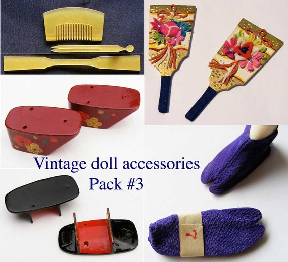 Vintage Japanese geisha doll accessories pack 3 with kanzashi geta tabi fan and fabrics