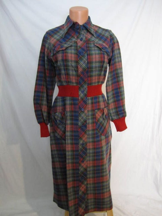 MAD ABOUT PLAID lumberjack-girl hourglass dress Universal Studios mod grunge tartan sz M