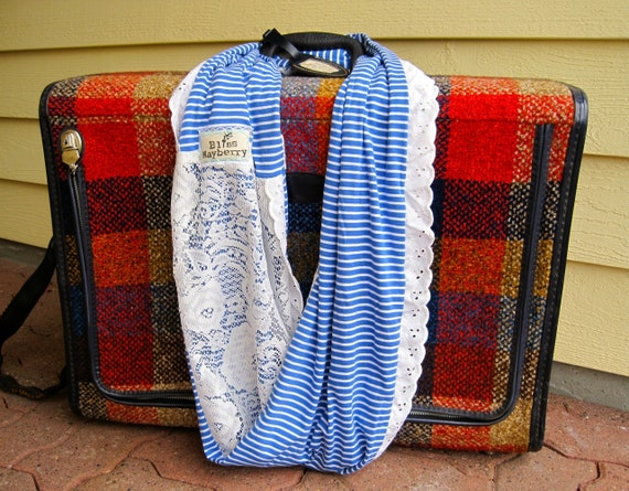 Heidi Beth Loopdy Scarf in upcycled white vintage lace, blue/white striped jersey, & vintage lace trim