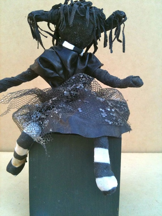 Sculpture Garden Art Original small punky fairy,black witch,indoor,outdoor
