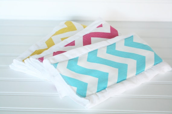 Baby Burp Cloths CHEVRON Set of 3