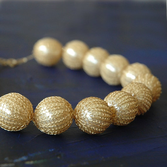 Faux pearl necklace , crochet wire necklace, gold filled, ivory