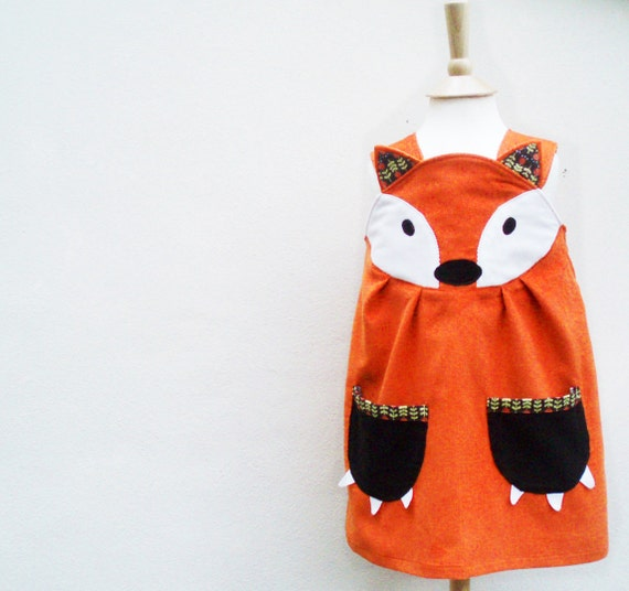 Fox Dress - Little girls character play dress 6m to 6y