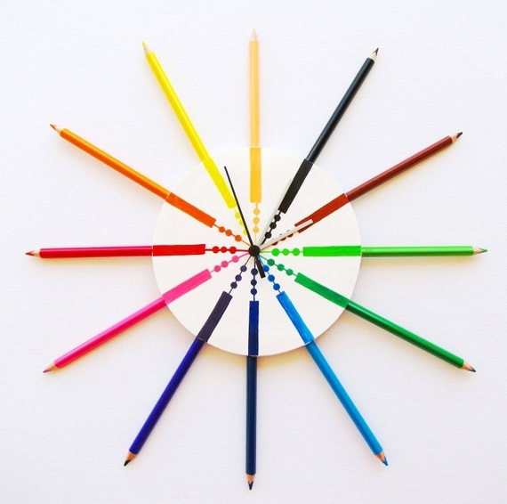 Children pencil wall clock, modern wall clocks, cool clocks, kids clocks contemporary clocks