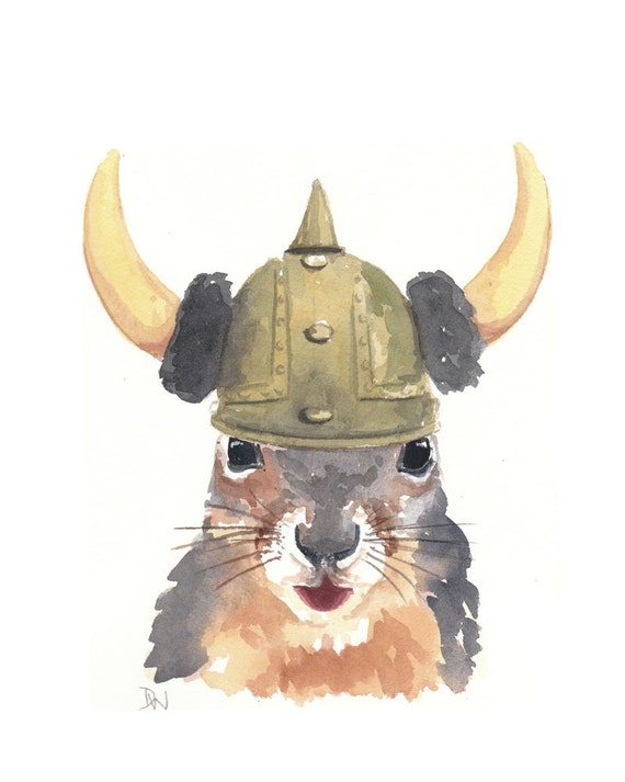 ORIGINAL Squirrel Watercolor Painting - Viking Squirrel No.2 8x10