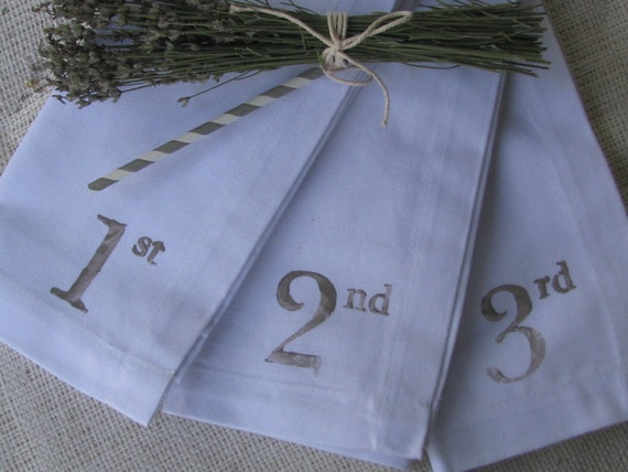 Numbered Cloth Dinner Napkins - Gray  Print