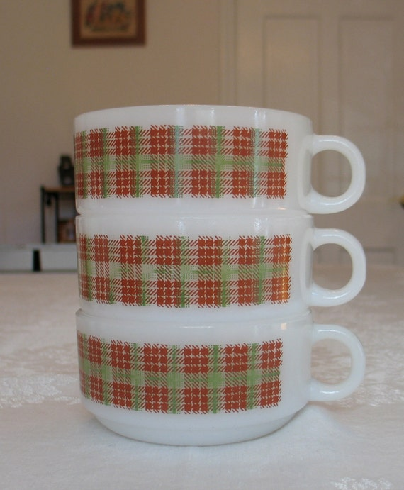 SO RETRO Glasbake Tartan Plaid Soup Mugs