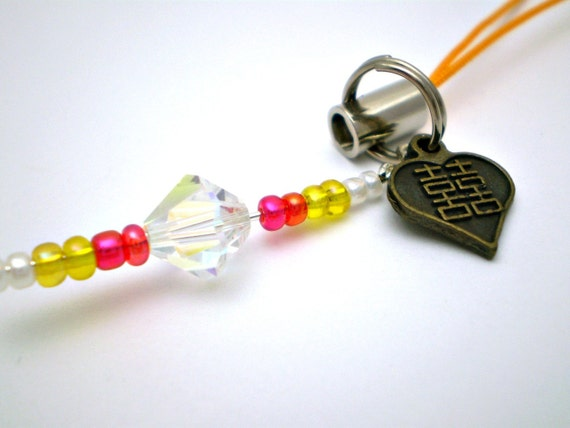 Double Happiness Cell Phone Charm - Chinese Character Double Happiness with Swarovski crystal bead