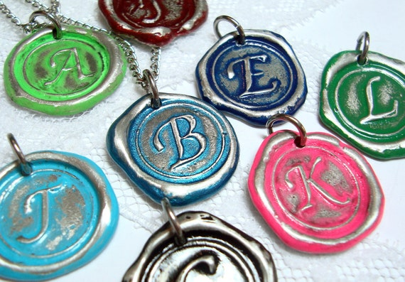 MINI color of your choice painted monogrammed initial necklace WITH chain