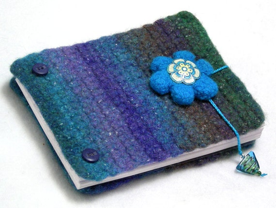 Inspiration book, post bound blank journal, felted wool covers, write - sketch - doodle - photos, turquoise - blue - green