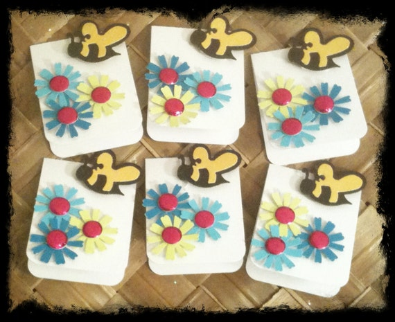 SIX Bees and Blooms Turquoise Royal Magenta All Occasion Blank Inside Mini Gift Card Tags