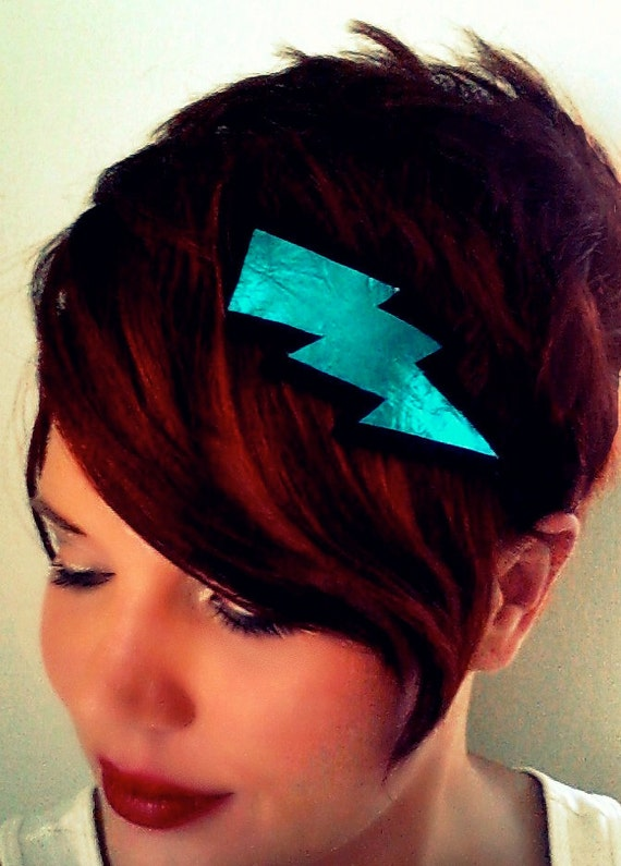 Lightning Bolt Headband Leather Metallic Blue Black Glam Punk Wizard Super Hero Turquoise Geekery handmade by sewZinski on Etsy