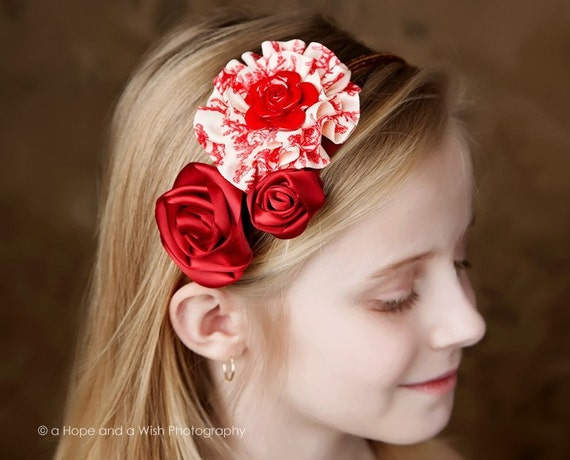 Spring SALE Ribbon rose instructions and ruffle flower hair bow tutorial trio headband PDF ebook for beginners