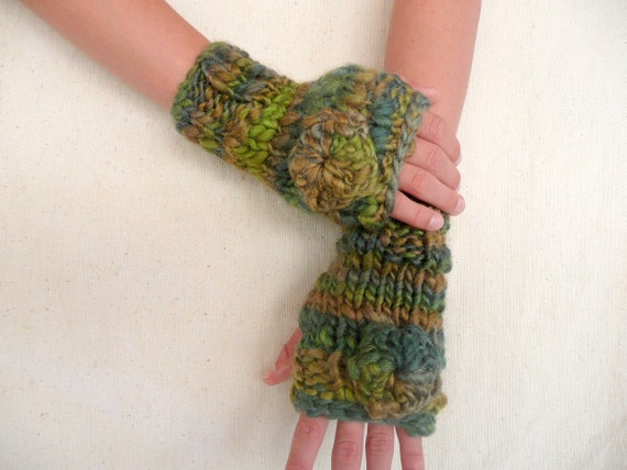 Hand knit fingerless gloves -  wool blend in green with flower wrist warmer