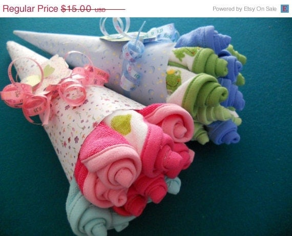 15% Off Sale Washcloth Rosebud Bouquet / Baby Shower Gift/ Hospital Gift/ Bridal Shower Gift  Available in Boy, Girl, Neutral , Bridal