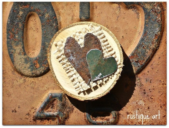 Rustic Magnet with Tin Hearts