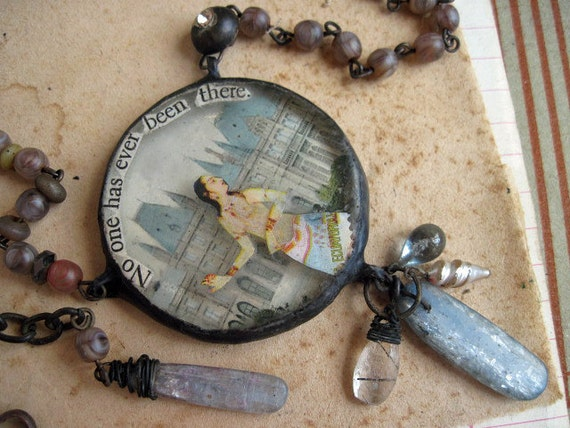 No One Has Ever Been There. Soldered Collage and Kyanite Assemblage Necklace.