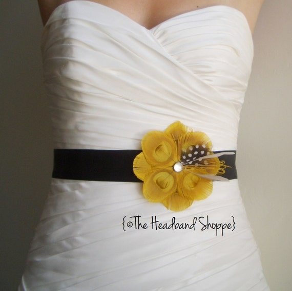 SUMMER Peacock Bridal or Bridesmaids Sash in Golden Yellow and Grey