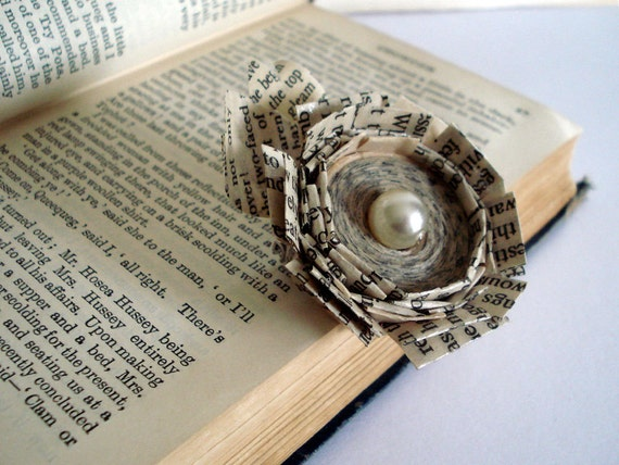 Paper book brooch rose with pearl